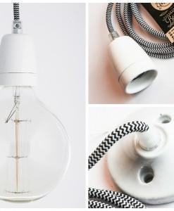 porcelain pendant light black and white