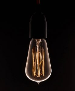vintage style pear light bulb with squirrel cage filament
