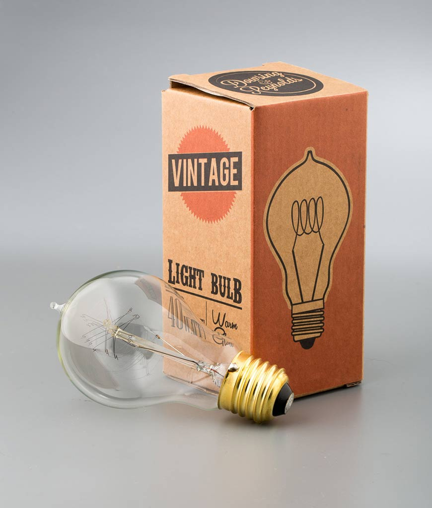 traditional e27 quad loop filament vintage style light bulbs against white background