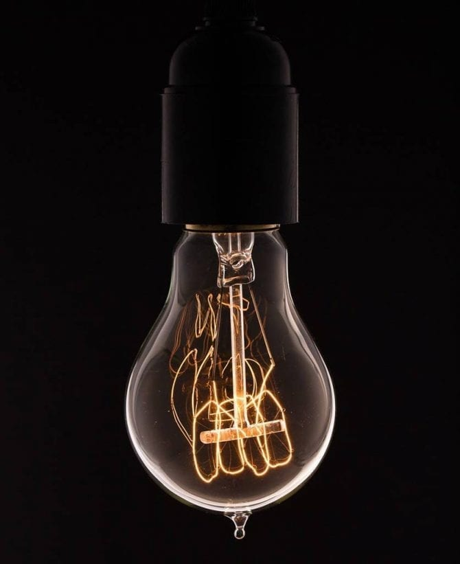 traditional quad loop filament vintage light bulb