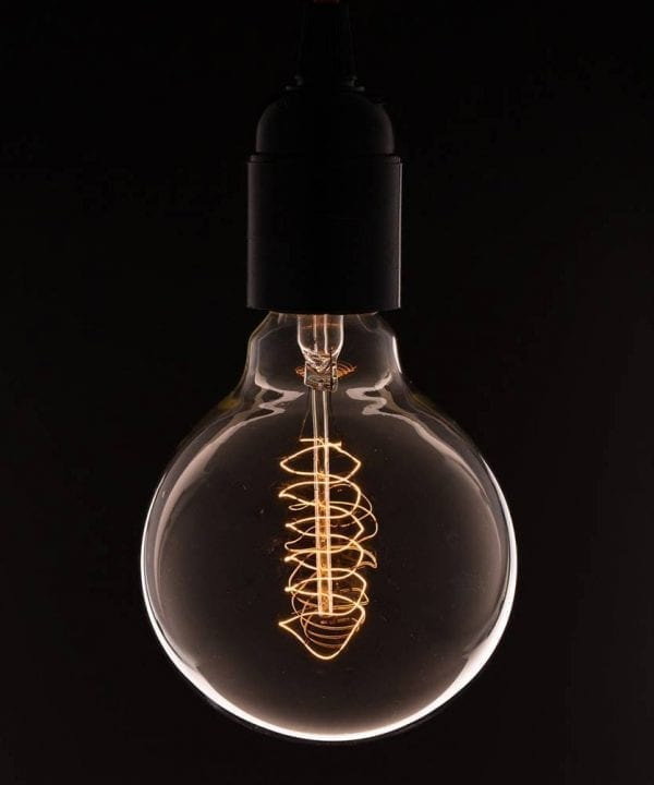 large globe spiral filament vintage light bulb