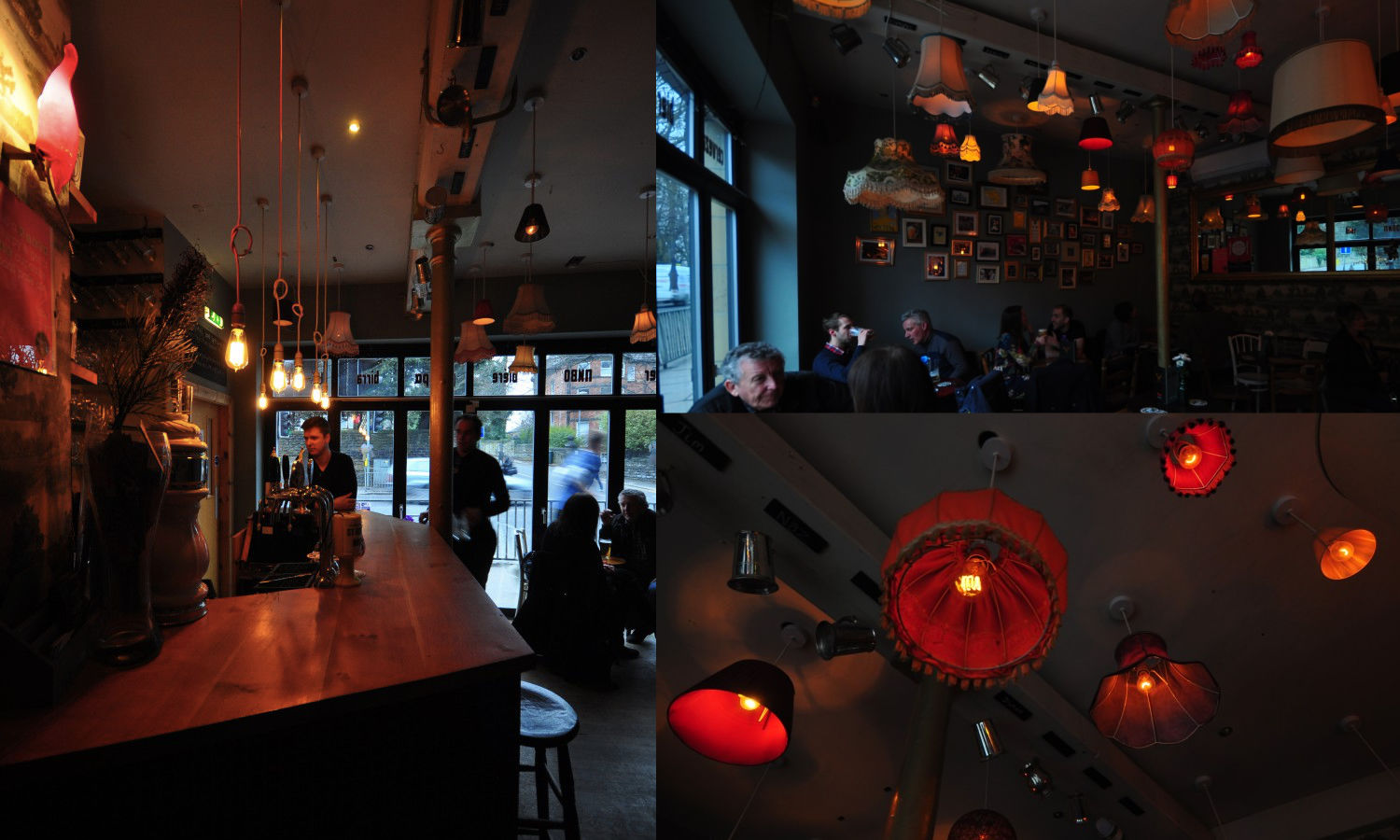 photos from inside further north bar showing lighting set up using dowsing and reynolds bulbs
