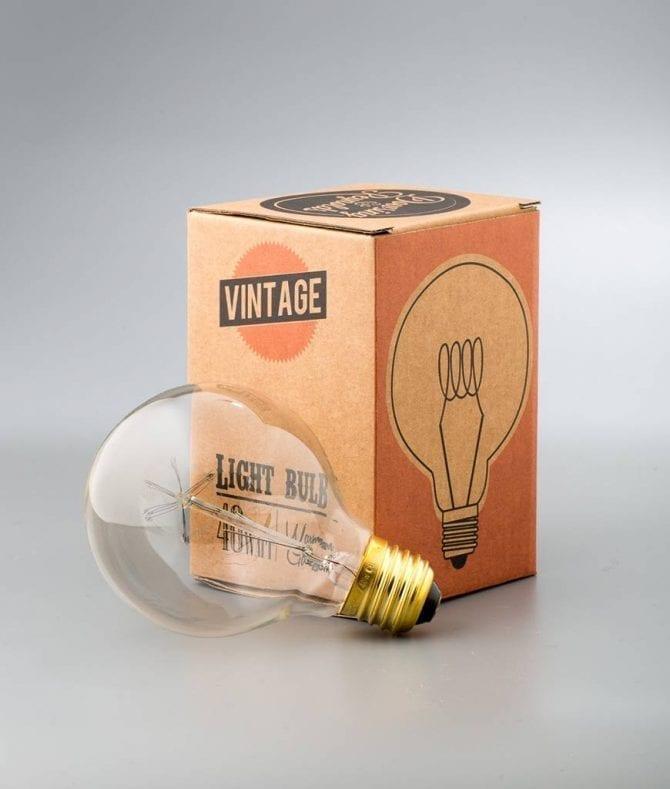 medium globe quad loop vintage filament bulbs against white background