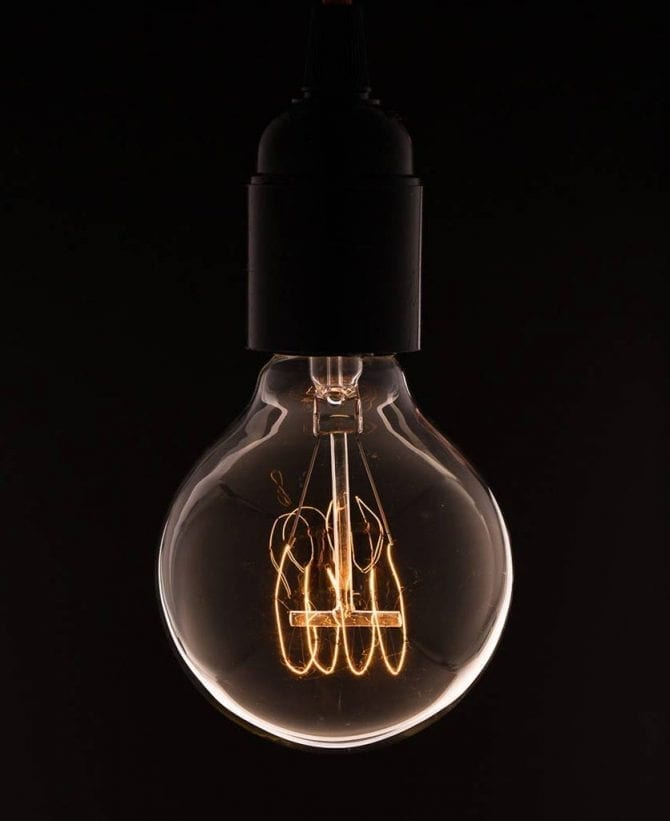 medium globe quad loop filament vintage light bulb