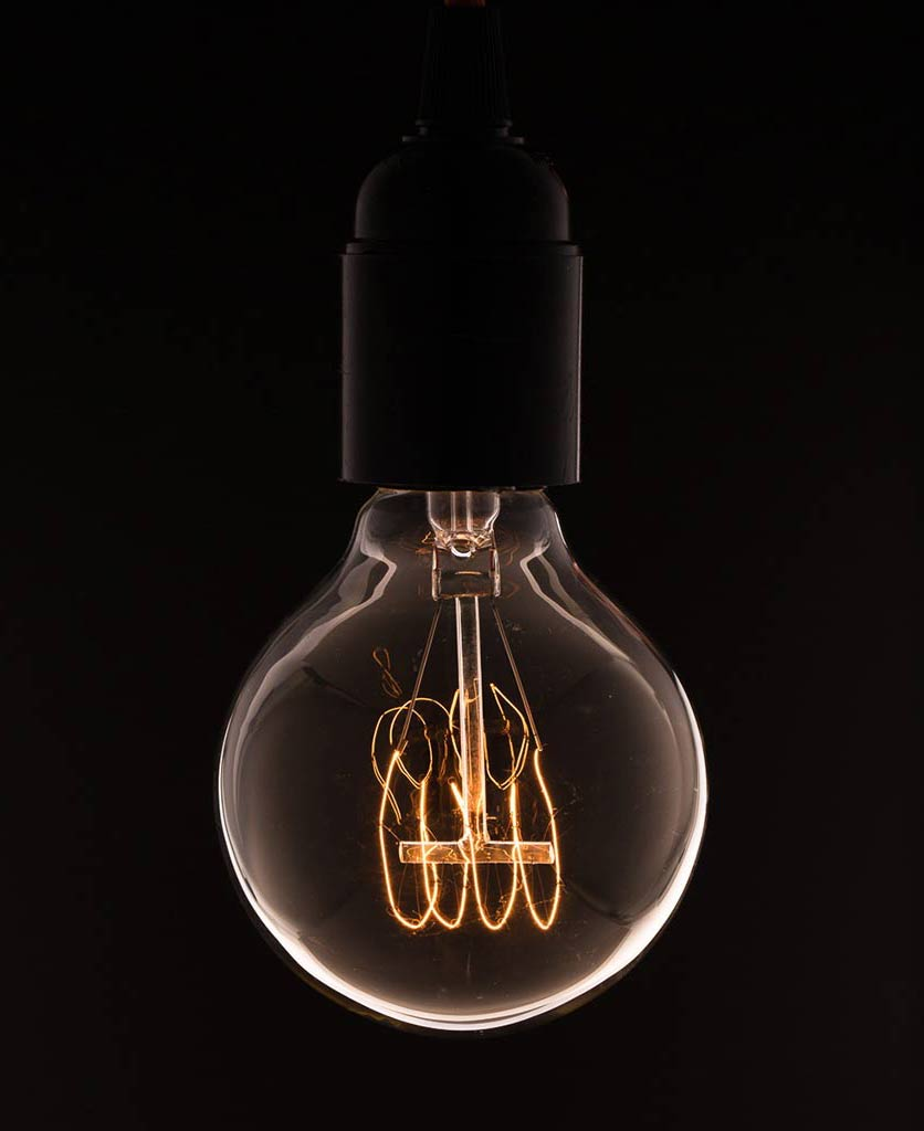medium globe quad loop filament vintage light bulb
