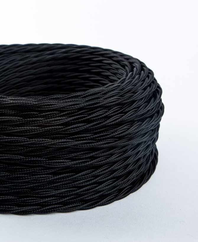 oh so black twisted fabric cable for lighting