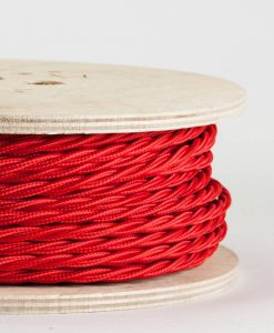 twisted fabric lighting cable red