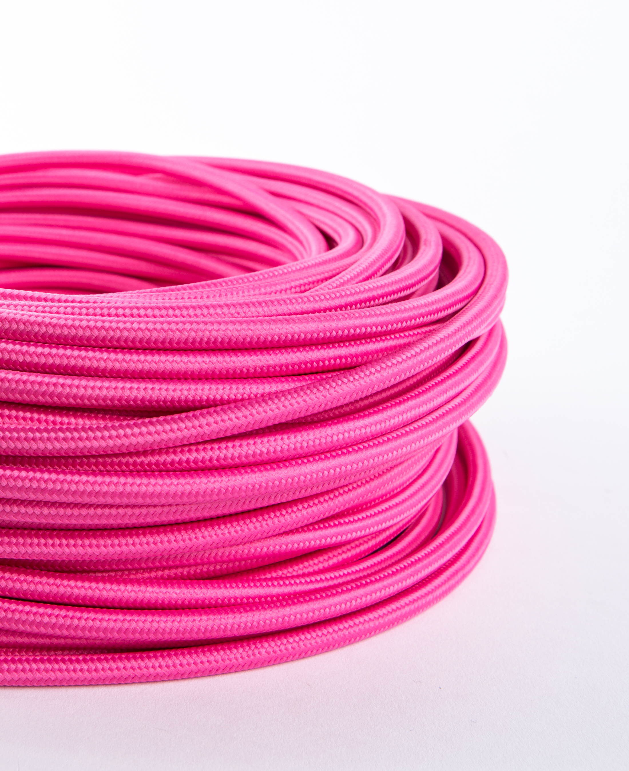 Pink Fabric Cable for Lighting 8 Amp 3 Core CE Certified
