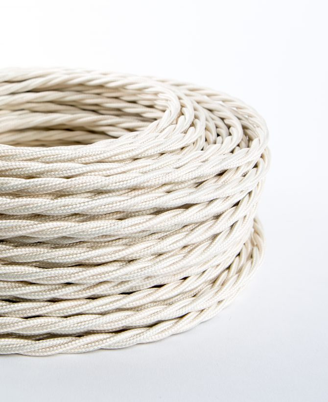 ivory twisted fabric cable for lighting