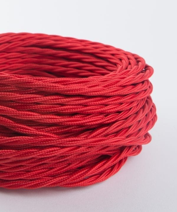 vibrant red twisted fabric cable for lighting