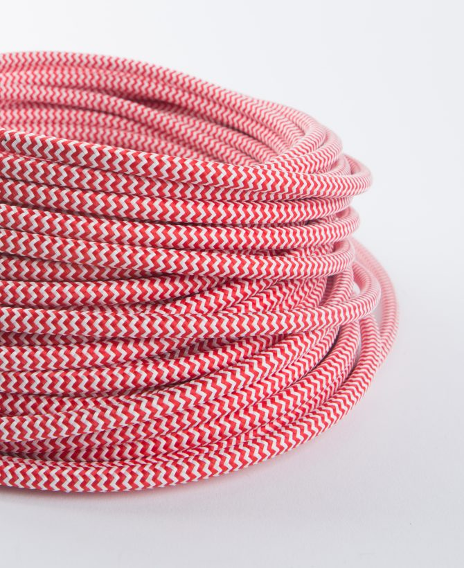 red and white fabric cable for lighting