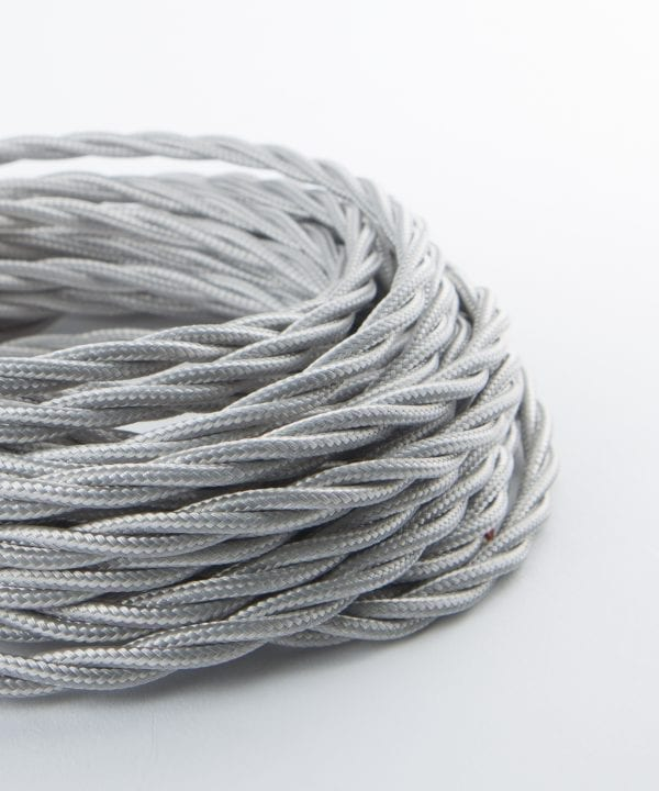 silver twisted fabric cable for lighting