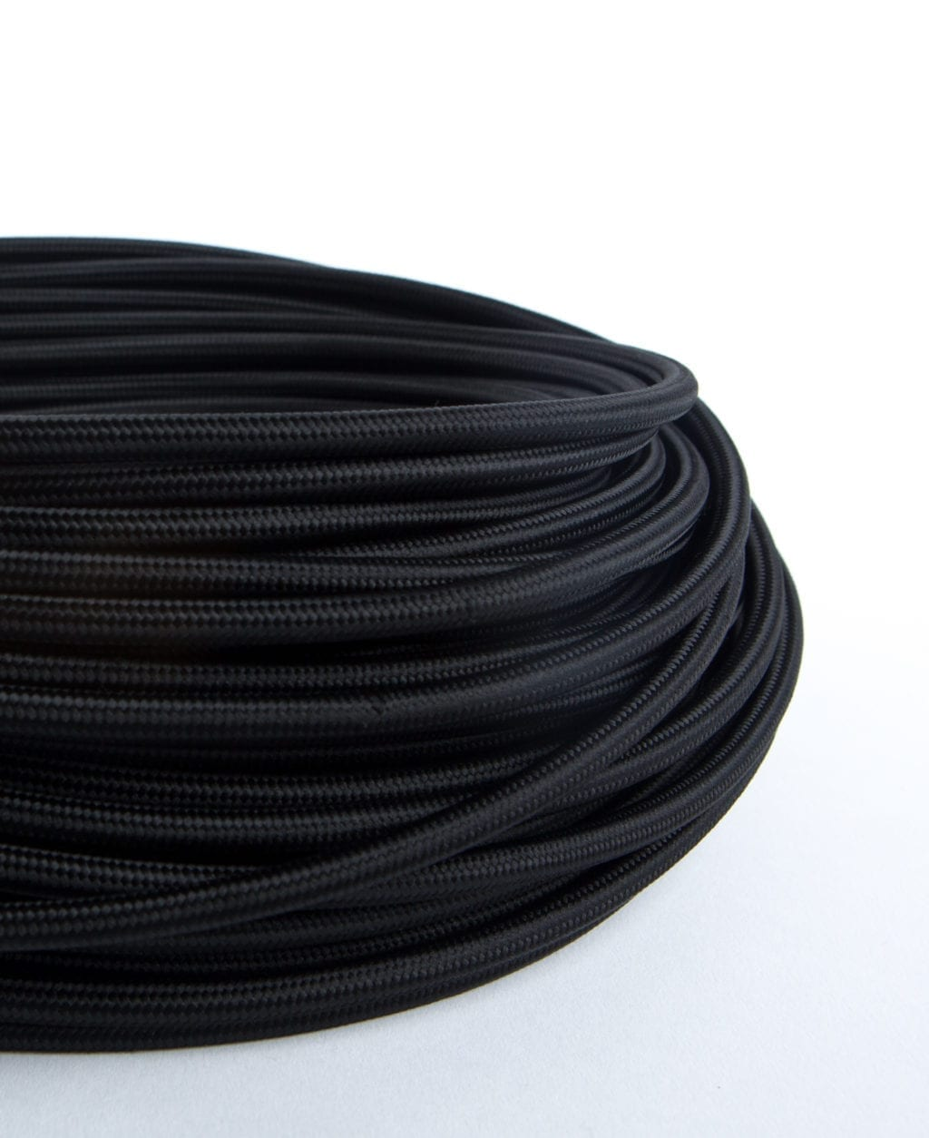 closeup of black fabric cable coil against white background