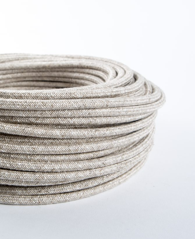 cream coarse linen fabric cable for lighting