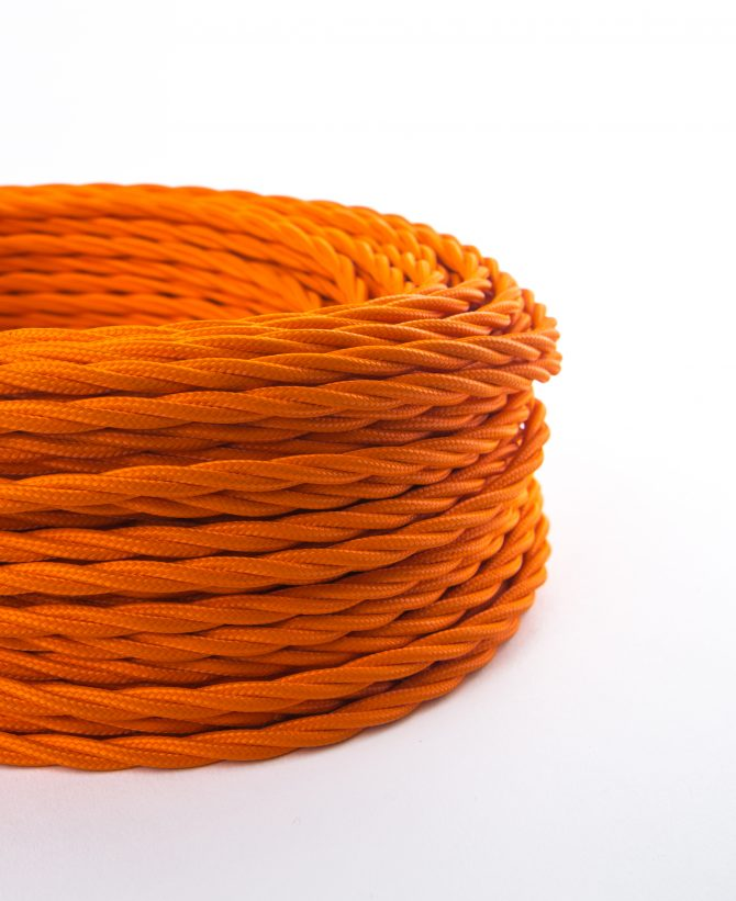 orange twisted fabric cable for lighting