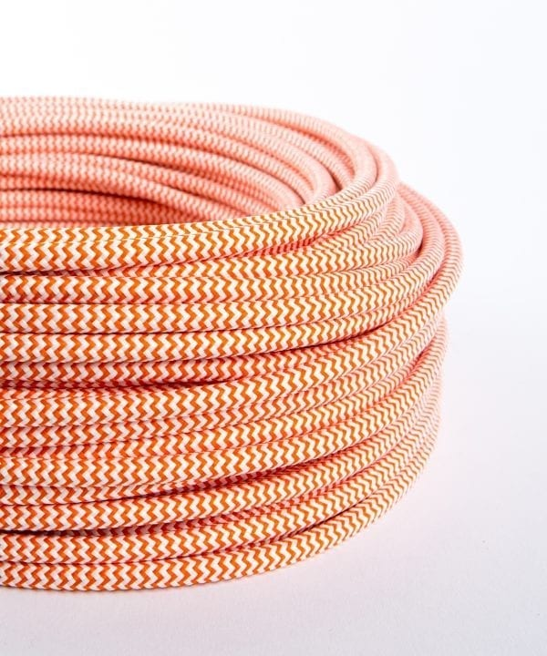 orange and white fabric cable for lighting