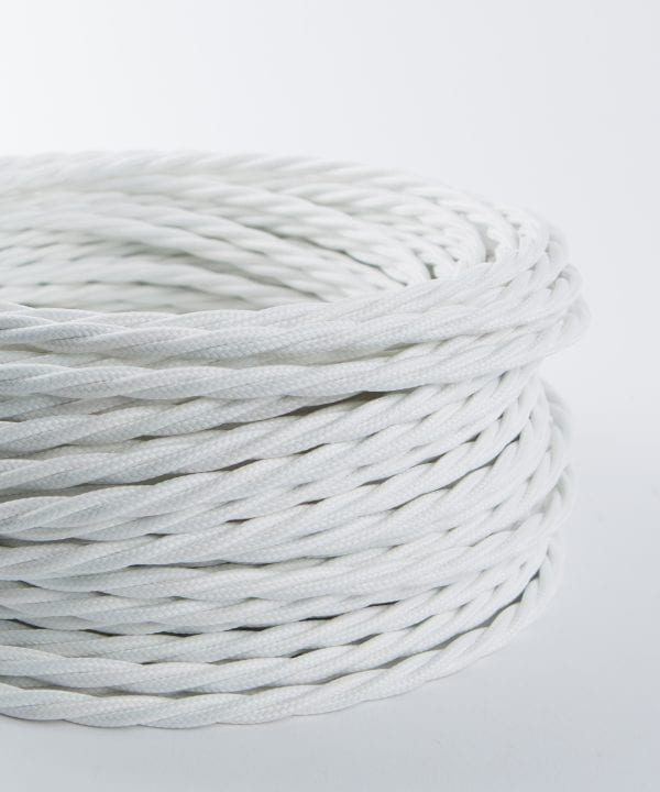 white twisted fabric cable for lighting