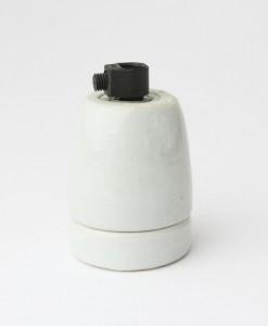 E27 Porcelain Bulb Holder with Black Cord Grip