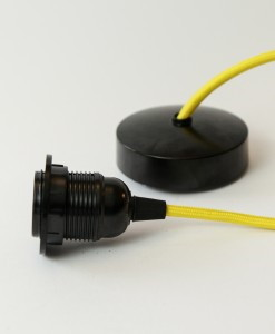 bakelite pendant light with yellow fabric cable (1)