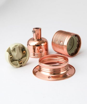 E27 polished copper lamp holder
