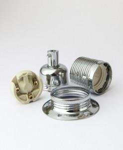 E27 Domed Light Bulb Holder / Lamp Holder Silver