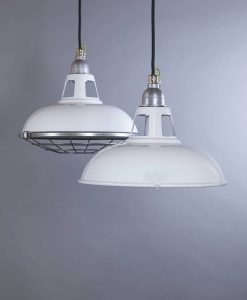 FARSLEY white industrial lighting enamel vintage style pendants