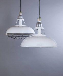 FARSLEY white industrial lighting enamel vintage style pendants