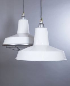 Linton white industrial lighting is factory style enamel pendant lighting for an unfinished look