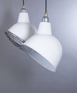 Oulton white industrial lighting consists of white enamel pendant lights