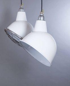 Oulton white industrial lighting consists of white enamel pendant lights
