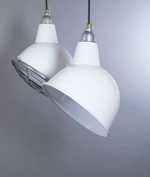 OULTON White Industrial Lighting Factory Style Enamel Lights