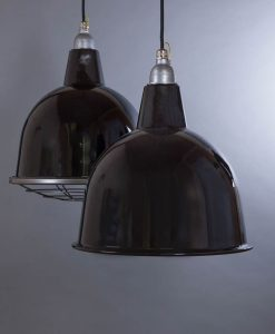 Stourton Black Industrial Lighting - Black Enamel Industrial Ceiling Lights Optional Cage