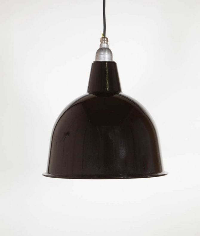 stourton black enamel metal pendant lights suspended from black fabric cable against white wall