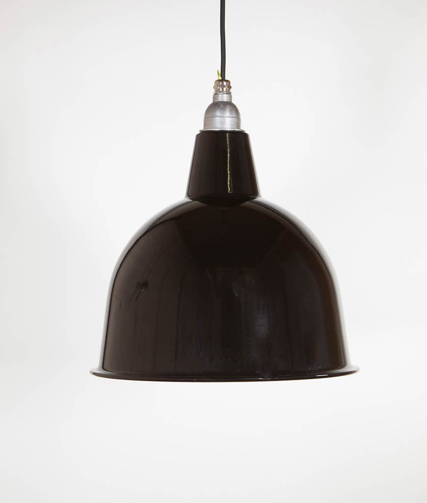 black enamel industrial kitchen lighting