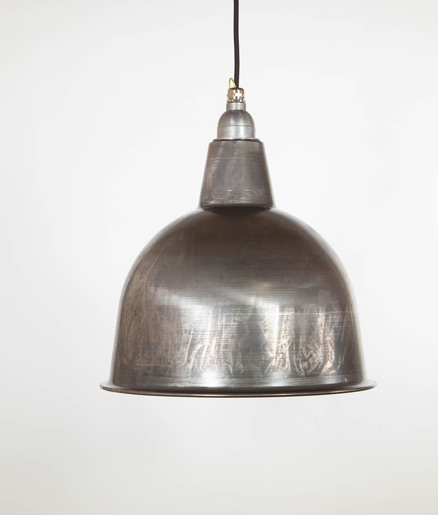 stourton food heat lamp raw steel enamel metal pendant lights suspended from black fabric cable against white wall