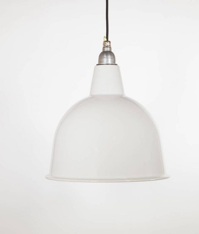stourton white enamel metal pendant lights suspended from black fabric cable against white wall