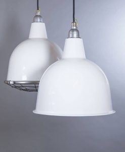 Stourton white industrial lighting: white enamel pendant lights to introduce unfinished charm