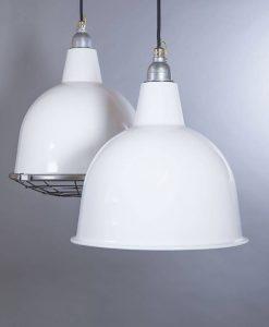 Stourton white industrial lighting: white enamel pendant lights to introduce unfinished charm