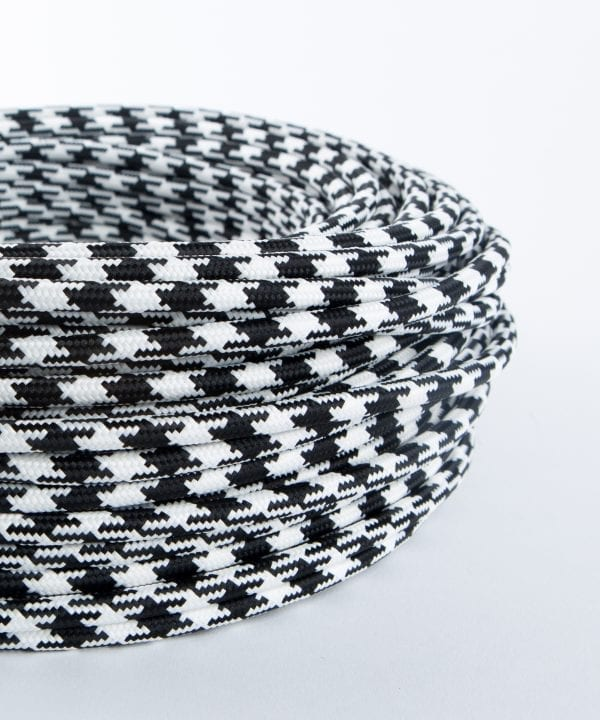 Houndstooth black and white fabric cable