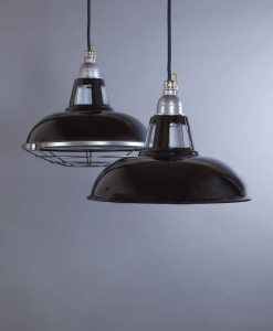 Farsley Black Industrial Lighting - Industrial Enamel Ceiling Lights Optional Cage