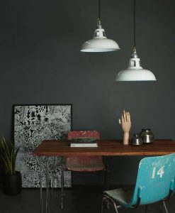 white industrial ceiling lights