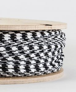 fabric lighting cable black and white houndstooth