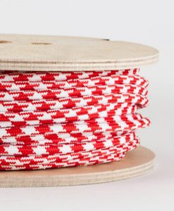 fabric lighting cable red and white houndstooth