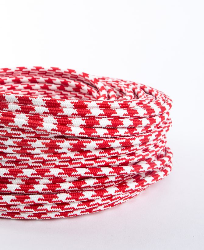 red houndstooth fabric cable for lighting