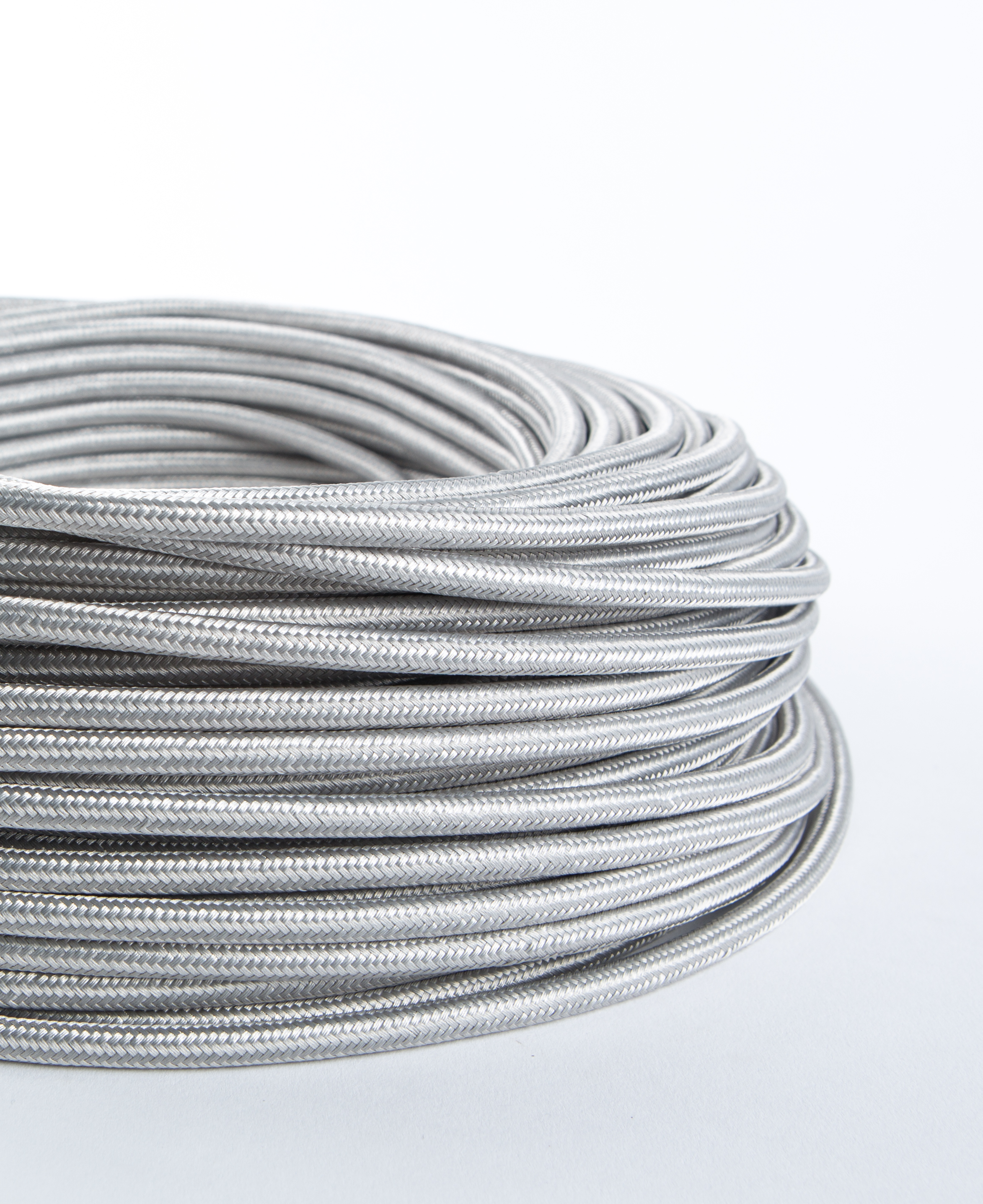 Silver Fabric Cable for Lighting with Smooth Satin Sheen: 8 Amp 3 Core