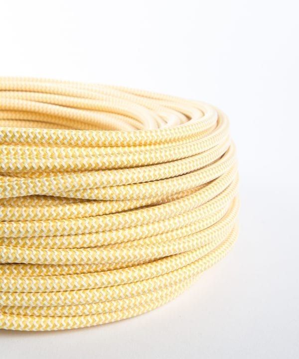 Vanilla ice cream zig & zag fabric cable for lighting
