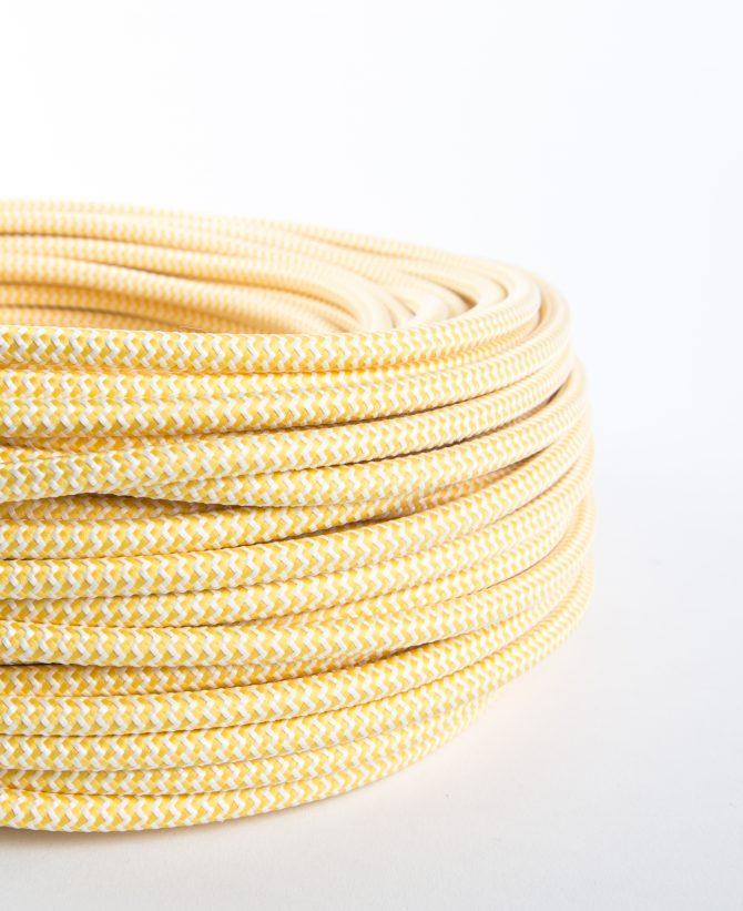 Vanilla ice cream zig & zag fabric cable for lighting