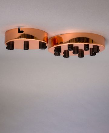 polished copper multi outlet ceiling rose