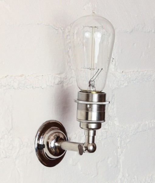 Vintage Metal Wall Light in Silver - The Manston