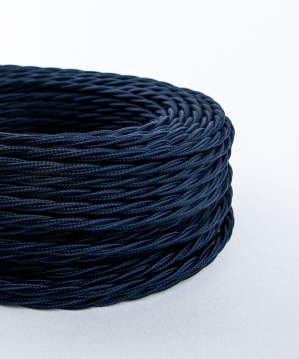 moody blue twisted fabric cable